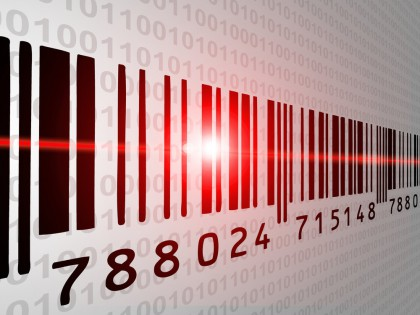 Barcode with red light ray and binary code in background
